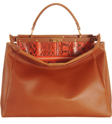 cd91fb65d8 Fendi Honey Orange Snakeprint-Lined Peekaboo Large Bag 2