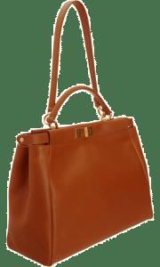 Fendi Honey:Orange Snakeprint-Lined Peekaboo Large Bag 3