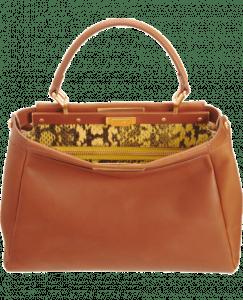 Fendi Honey:Yellow Snakeprint-Lined Peekaboo Small Bag