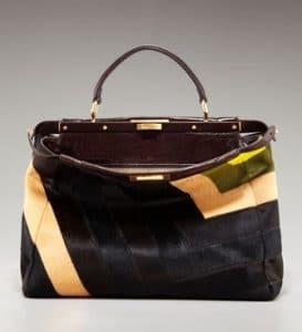 Fendi Multicolor Patchwork Calf Hair Peekaboo Large Bag
