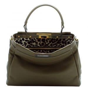 Fendi Olive Leopard-Print Peekaboo Large Bag