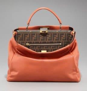 Fendi Terracotta Zucca-Lined Peekaboo Medium Bag