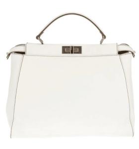 Fendi White Zucca-Lined Peekaboo Medium Bag