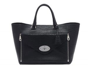 Mulberry Black Nickel Shrunken Calf Willow Tote Medium Bag