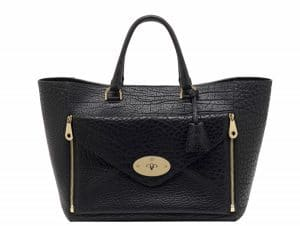 Mulberry Black Shrunken Calf Willow Tote Oversized Bag