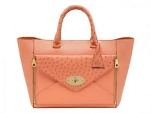 Mulberry Bright Apricot Classic Calf:Ostrich Mix Willow Tote Small Bag
