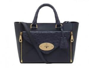 Mulberry Navy Classic Calf:Ostrich Mic Willow Tote Small Bag