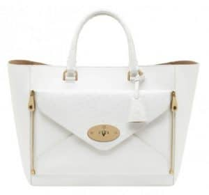 Mulberry White Classic Calf : Ostrich Mix Willow Tote Oversized Bag