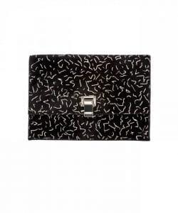 Proenza Schouler Black:Bone Printed Pony Hair Small Lunch Bag