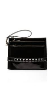 Valentino Black Patent Punkouture Clutch Bag