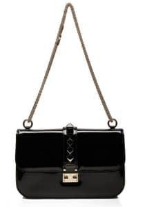 Valentino Black Patent Rockstud Flap Shoulder Bag