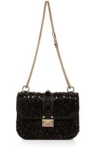 Valentino Black Rockstud Embroidered Lock Shoulder Bag