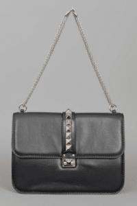 Valentino Black Rockstud Flap Large Bag