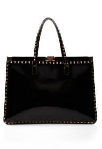 Valentino Black Rockstud Studded Frame Tote Bag