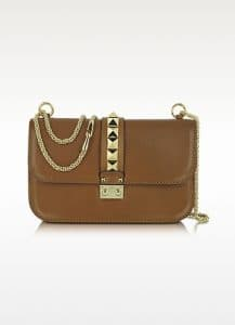 Valentino Brown Rockstud Flap Bag