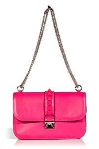 Valentino Fuchsia Rockstud Flap Medium Bag