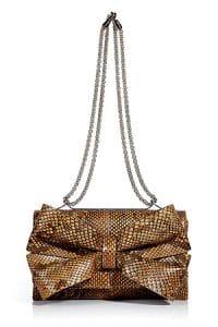 Valentino Golden Brown Python Bow Flap Bag