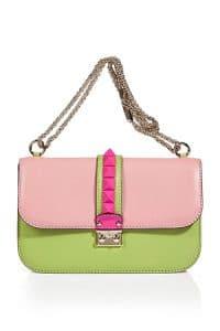 Valentino Pale Pink-Multi Colorblocked Rockstud Flap Medium Bag