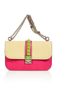 Valentino Pale Yellow-Multi Colorblocked Rockstud Flap Medium Bag