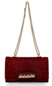 Valentino Red Leopard Pony Hair Va Va Voom Flap Bag