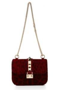 Valentino Red Leopard Print Pony Hair Rockstude Flap Shoulder Bag
