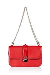 Valentino Red Rockstud Flap Medium Bag