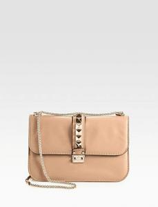 Valentino Tan Rockstud Flap Medium Bag