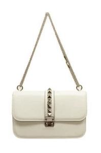 Valentino White Rockstud Flap Medium Bag
