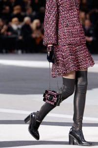 Chanel Black/Pink Tweed Lego Clutch Bag - Fall 2013 Runway