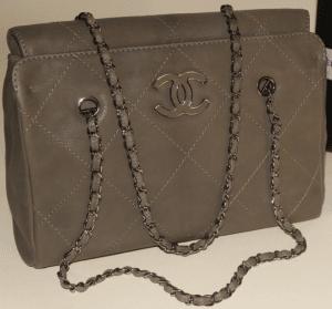 Chanel Khaki Hampton Large Shopping Bag