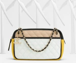 Chanel Beige/White/Black/Yellow Graphic Camera Case Bag - Spring 2013