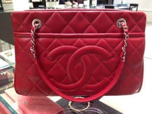 Chanel Red Timeless CC Soft Medium Shopper Tote Bag