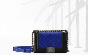 Chanel Two Tone Blue and Black Boy Bag - Spring 2013