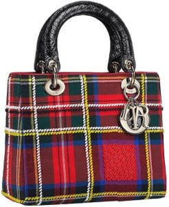 Dior Red Embroidered Lady Dior Tartan Bag