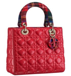 Dior Red Lady Dior Tartan Bag