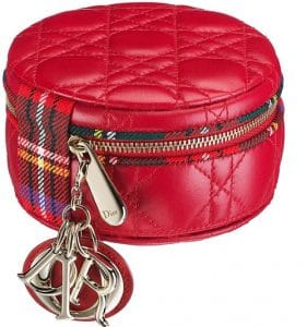 Dior Red Lady Dior Tartan Round Zipped Pouch Bag