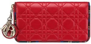 Dior Red Lady Dior Tartan Zipped Pouch Bag
