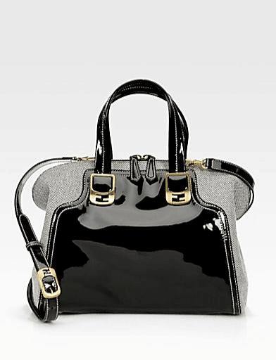 dfecdb240298 Fendi Black Patent Canvas Chameleon Small Bag