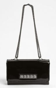 Valentino Black Patent Va Va Voom Clutch Bag (Crystal Encrusted Studs)
