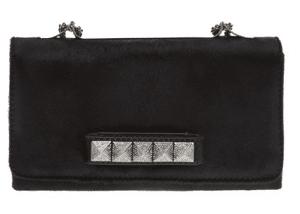 Valentino Black Pony Fur Va Va Voom Clutch Bag (Crystal Encrusted Studs)