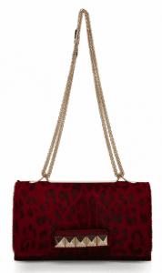 Valentino Red Leopard Pony Hair Va Va Voom Clutch Bag