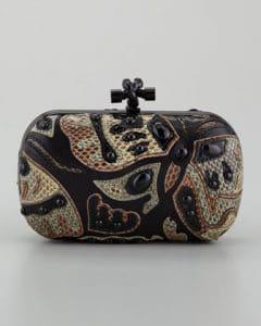 Bottega Veneta Black Butterfly Snakeskin Knot Clutch Bag