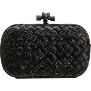 Bottega Veneta Black Intrecciato Rings Knot Clutch Bag