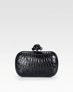 Bottega Veneta Blue Crocodile Knot Clutch Bag