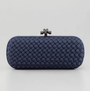 Bottega Veneta Blue Intrecciato Silk Stretch Knot Clutch Bag