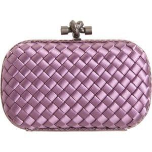 Bottega Veneta Corot Purple Satin Knot Clutch Bag