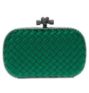 Bottega Veneta Green Satin Knot Clutch Bag