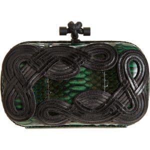 Bottega Veneta Irish Green Snakeskin Passamaneria Knot Clutch Bag