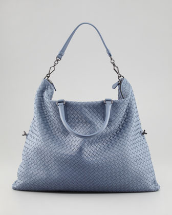 4e903f1928 Bottega Veneta Light Blue Intrecciato Nappa Convertible Bag 1
