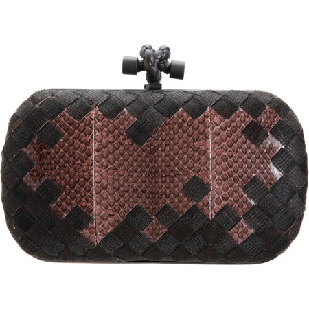 ... save off b52d5 c51ed Bottega Veneta Metal MeshSnakeskin Intrecciato  Knot Clutch Bag ... 0c65bcadd4305